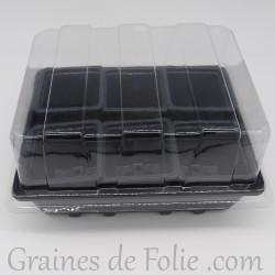 Mini serre avec 6 godets pour semis couleur gris